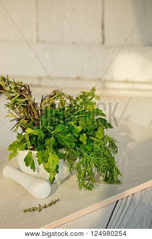 Mix Fresh Green Herbs. Thyme Rosemary Dill and Parsley in the mortar on white background