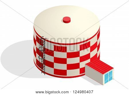 Water tank, red cister. Water treatment isometric building info graphic element. Rounded gasometer, big gasholder, white background. Pictogram industrial reservoir set. Flatten isolated master vector.