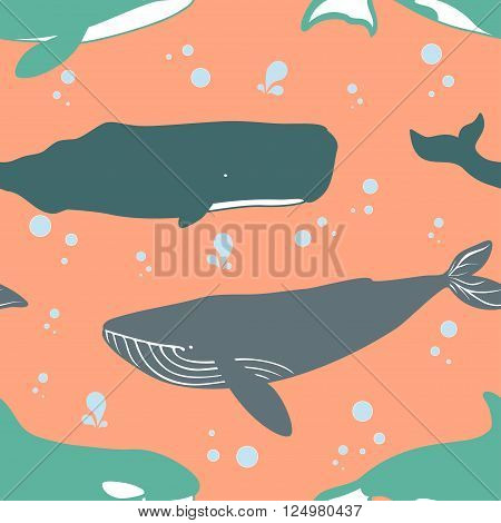 Seamless pattern with blue sperm and killer whales. Vector illustration.