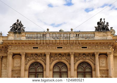 LIBEREC, CZECH REPUBLIC - JULY 8, 2009: Neo-Renaissance style theater with rich stucco decoration and sandstone sculptures in Liberec