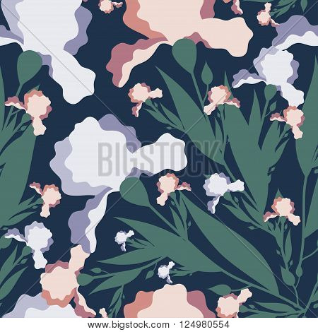Seamless vector pattern with iris flower.Colorful textile texture.Print with iris flower