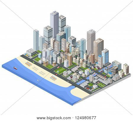 Isometric city. Skyscrapers houses and streets in the metropolis isometric view.