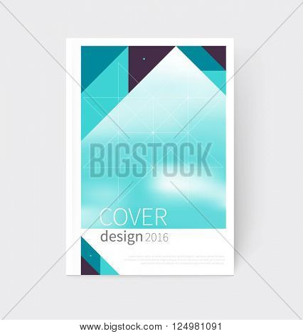Cover design. Brochure, flyer, annual report cover template. a4 size. modern Geometric Abstract background. sacred geometry triangles. blurred background vector-stock illustration EPS 10