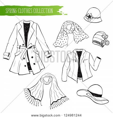Hand drawn spring time objects set. Collection of spring clothing isolated on white background. Black autumn accessories outlines for coloring books.