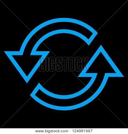 Sync Arrows vector icon. Style is stroke icon symbol, blue color, black background.
