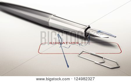 Signature and fountain pen over paper texture. Concept image for illustration of business commitments. 3D illustration