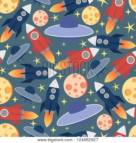 Cosmic seamless pattern.Colorful print with moon,stars and missile