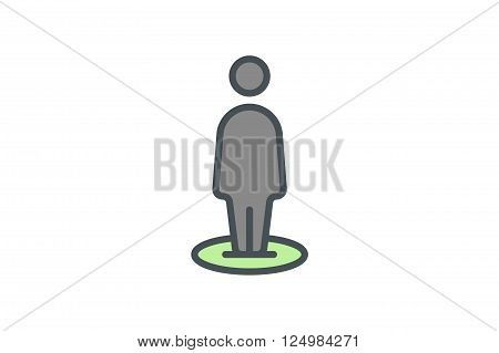 People outline icon. Line art. Stock vector