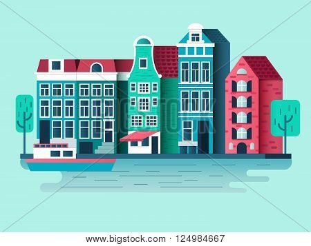Amsterdam city design flat. Building house, town architecture, urban street. Vector illustration