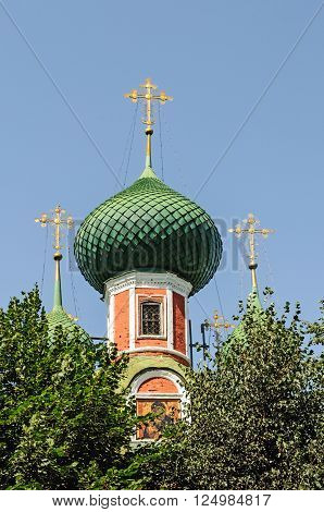 Cupola of orthodox church on blue sky background