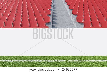 Blank banner around pitch red seats aisle between them. Front view. Concept of sport advertising. Mock up. 3D rendering