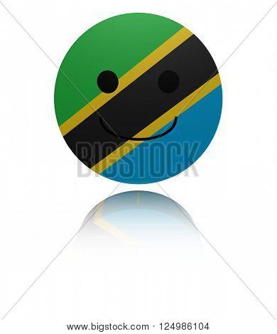 Tanzania happy icon with reflection 3D illustration