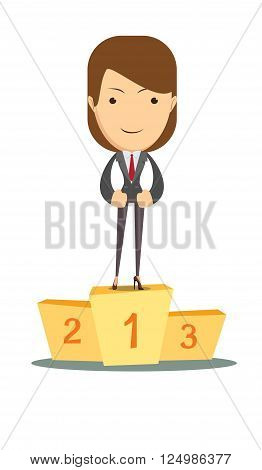 Business woman has won first place as the leader vector illustration