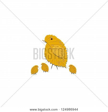 Family made of yellow birch leaves isolated on white background for use in your design.