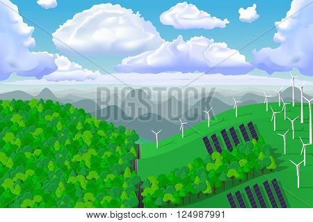 Eco friendly vector. Ecologic green panoramic landscape