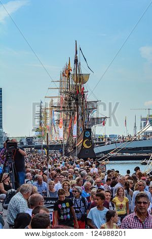 AMSTERDAM, THE NETHERLANDS, AUGUST 20, 2015: SAIL Amsterdam 2015 is the largest free public event in the world. An immense flotilla of Tall Ships, maritime heritage, naval ships and impressive replicas.