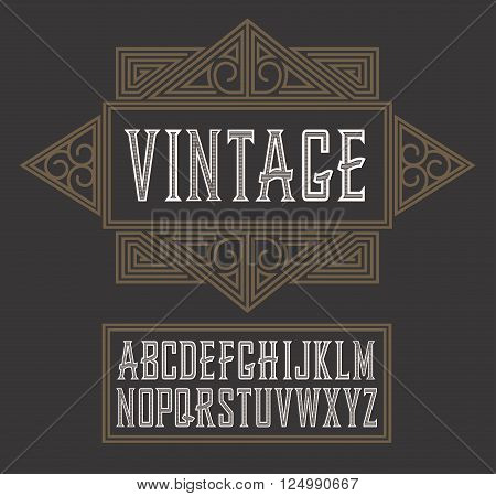 Vector vintage label font, modern style.  Whiskey label style.