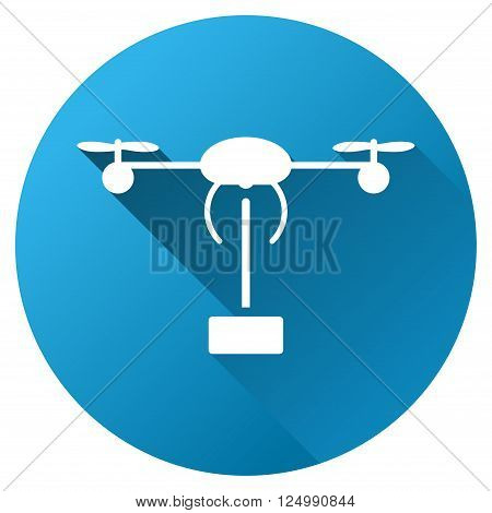 Copter Shipment vector toolbar icon for software design. Style is a white symbol on a round blue circle with gradient shadow.