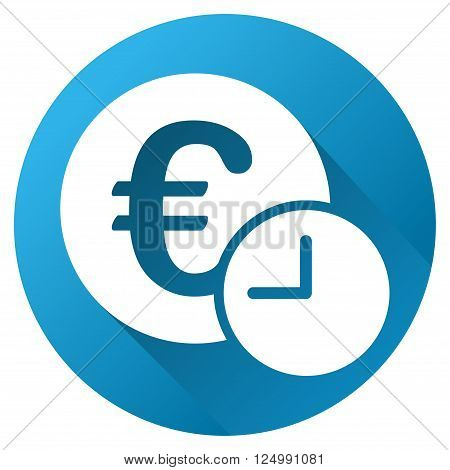 Euro Credit vector toolbar icon for software design. Style is a white symbol on a round blue circle with gradient shadow.