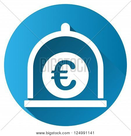 Euro Standard vector toolbar icon for software design. Style is a white symbol on a round blue circle with gradient shadow.