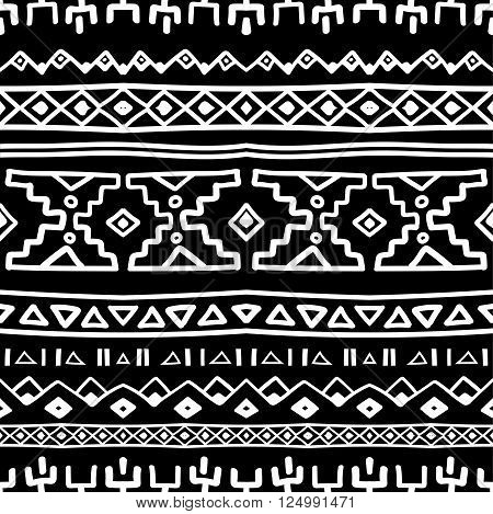 Ethnic South America abstract stripe vector seamless pattern. Mexican, peru or aztec motifs