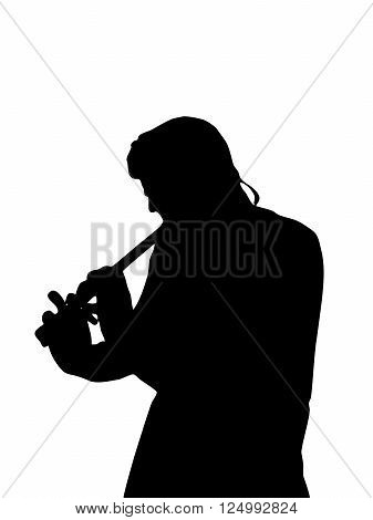 The silhouette of a man, playing a flute