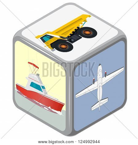 Playing isometric dice with means of transport. How to travel? Accidental  choice. Transportation funny game. Cube on white. Die with boat, plane and truck. Flatten isolated master vector illustration
