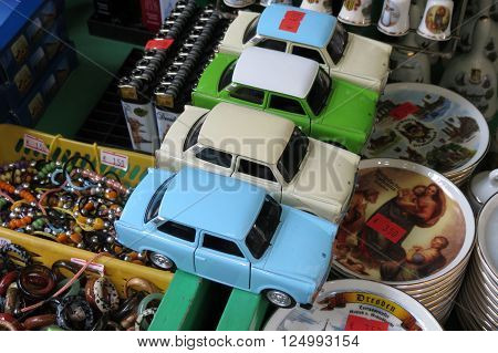 DRESDEN GERMANY - CIRCA MARCH 2016: Trabant car toy models for sale on the counter of a nostalgia store