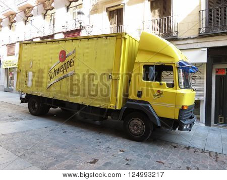 MADRID SPAIN - CIRCA JUNE 2015: Schweppes van parked in a street of the city centre