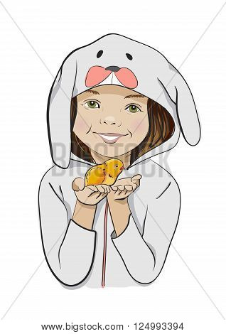 Happy Easter. Vector cartoon, funny, hand-drawn. Girl in a bunny costume with chick in hands.