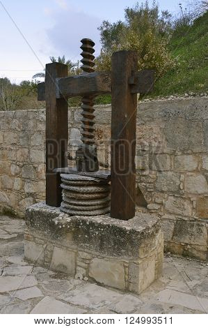 Old Olive Press with wooden screw and baskets Kritou Terra Cyprus
