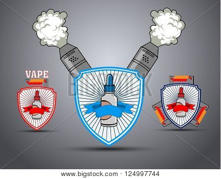 A set of posters with the shield and the e-cigarette to vaping. Vector illustration