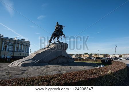 Equestrian statue - Bronze Horseman. The sculpture was erected in the 18th century in honor of the Russian Emperor Peter 1. The main attraction of St. Petersburg.