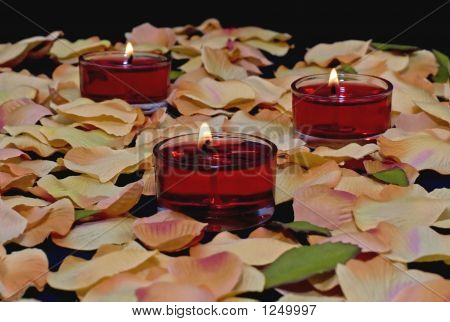 Red Tealights  Petals