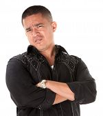 image of cynicism  - Unimpressed or offended Native American with folded arms on white background - JPG
