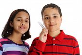 stock photo of tuning fork  - Picture of children set on white background - JPG