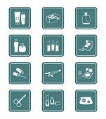 Cosmetics, visage, make-up objects vector icon set.