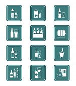 Traditional non-alcoholic and alcohol drinks icon set.