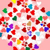 Floral valentines hearts romantic pattern background