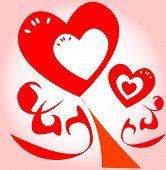 colorful Floral hearts design background