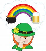 picture of end rainbow  - A leprechaun is pondering what is at the ends of the rainbow  - JPG