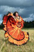 Постер, плакат: Цыганская девочка танец в поле