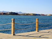 A wooden pier in El Gouna, Egypt