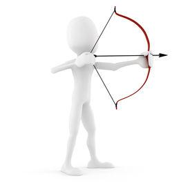 stock photo of bow arrow  - 3d man archer - JPG
