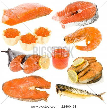 collection of seafood, red fish, red caviar over white background