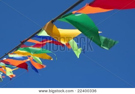 Small triangular waving flags.
