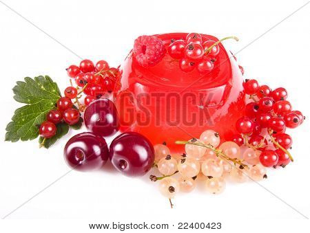 fruit dessert  with fresh berries isolated on white