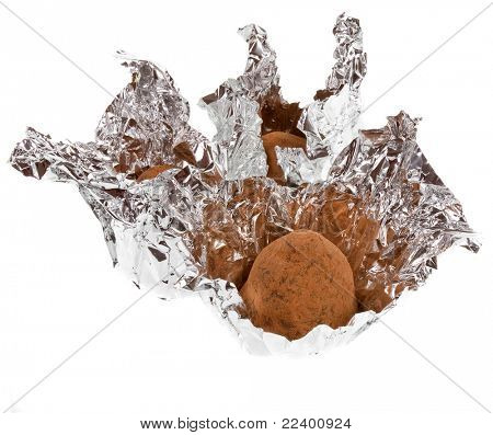 Chocolate Truffles on white background