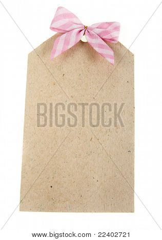 cardboard tags with pink  ribbon bow  the cell isolated on white background