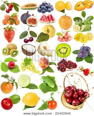 große Sammlung Obst, Beeren, Gemüse, isoliert auf weißem Hintergrund